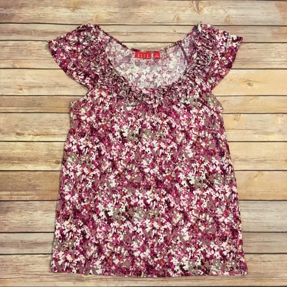 Elle Tops - Elle Pink Floral Shirt, Size M